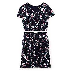 Yumi Girl - Girls' navy floral vine print dress