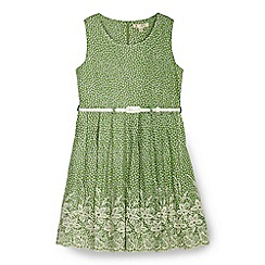 Yumi Girl - Green floral print embroidery dress