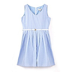 Yumi Girl - Girls' blue stripe belted denim dress
