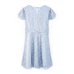 Yumi Girl - Girls' blue lace layered sleeve dress