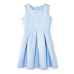 Yumi Girl - Blue glittery floral skater dress