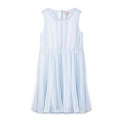 Yumi Girl - Girls' blue mock pearl neckline occasion dress