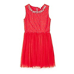 Yumi Girl - Red sequin embellished mesh dress