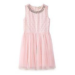 Yumi Girl - Pink sequin embellished mesh dress