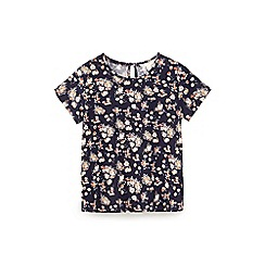 Yumi Girl - Blue floral cluster print jersey top