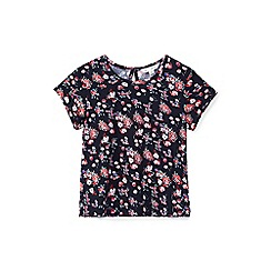 Yumi Girl - Black floral cluster print jersey top