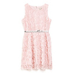 Yumi Girl - Pink 3d floral dress with metallic waist belt