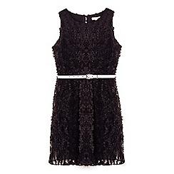 Yumi Girl - Black 3d flower party dress with waist belt