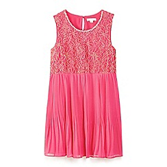 Yumi Girl - Pink lace and pearl dress