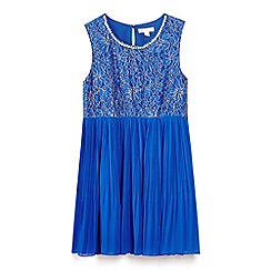 Yumi Girl - Blue pearl and lace dress