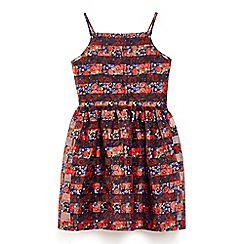 Yumi Girl - Black organza poppy pattern party dress
