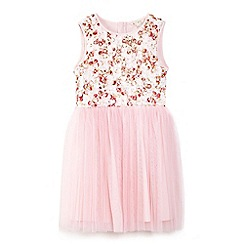 Yumi Girl - Pink 3d rose corsage and tulle skirt party dress
