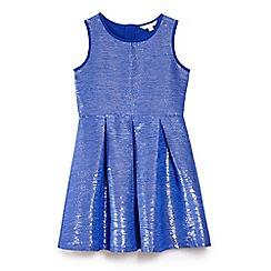 Yumi Girl - Blue lurex shine jacquard party dress