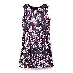 Yumi Girl - Black statin flower print skater dress