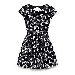 Yumi Girl - Girls' black lace heart patterned 'Bexley' skater dress