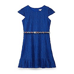 Yumi Girl - Blue lace border ruffle dress