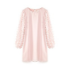 Yumi Girl - Pink 3d floral sleeve tunic dress