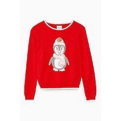 Yumi Girl - Red pom-pom penguin Christmas jumper