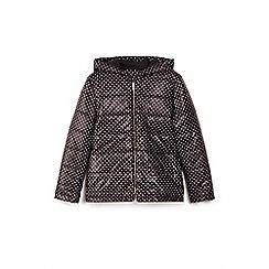 Yumi Girl - Black polka dot printed quilted jacket