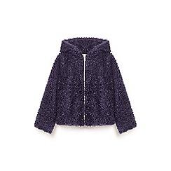 Yumi Girl - Blue shaggy faux fur zip jacket
