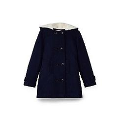 Yumi Girl - Blue faux fur hooded duffle coat