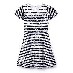 Yumi Girl - Girls' navy striped lace 'Anaaya' skater dress