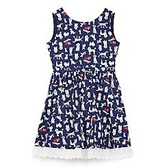 Yumi Girl - Girls' navy dog print 'Amyria' skater dress