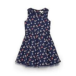 Yumi Girl - Girls' navy butterfly print 'Amylia' party dress
