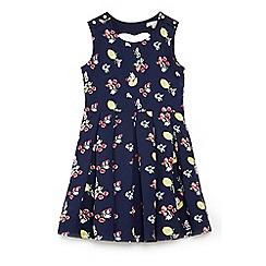 Yumi Girl - Girls' navy floral lemon 'Amyrah' skater dress