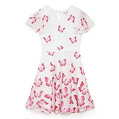 Yumi Girl - Girls' pink butterfly print 'Amyree' skater dress