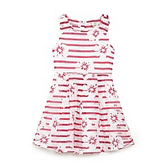 Yumi Girl - Girls' pink stripe and floral lace 'Amunet' skater dress