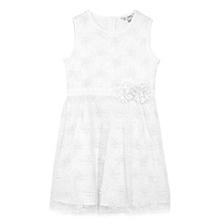 Yumi Girl - Girls' ivory floral embroidered 'Amukta' party dress