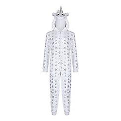 Yumi Girl - White star embellished unicorn onesie