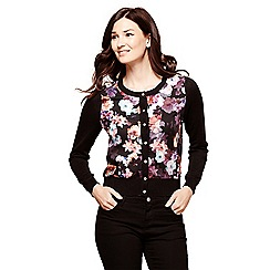Yumi - Black winter floral cardigan