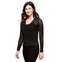 Yumi - Black knitted pointelle cardigan