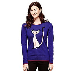Yumi - Blue cat knitted jumper