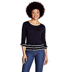 Yumi - Navy frilled hemline jumper