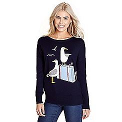 Yumi - Navy seagulls on an embellished jumper