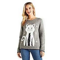Yumi - Grey cat christmas jumper