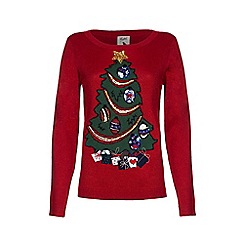 Yumi - Red sequin christmas tree jumper