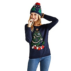 Yumi - Navy sequin christmas tree jumper
