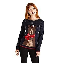 Yumi - Navy bear christmas jumper