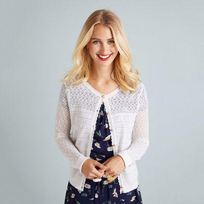 97657eb39eb Yumi - Ivory ripple stitch lace cardigan