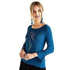 3c7697d29b Yumi - Blue floral knit and woven jumper