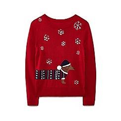 Yumi - Red sausage dog Christmas jumper
