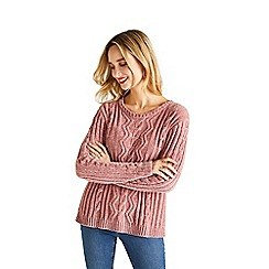 792846a7f2 Yumi - Pale pink cable knit chenille jumper