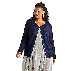 279eb7c5ee6 Yumi Curves - Navy ripple stitch lace cardigan