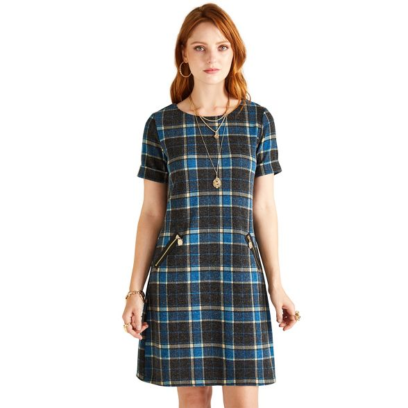 dress sleeves Blue Yumi short tunic 'Armeda' check pTYqwSI