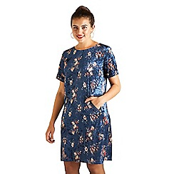 Yumi Curves - Blue floral velvet 'Breaja' plus size tunic dress