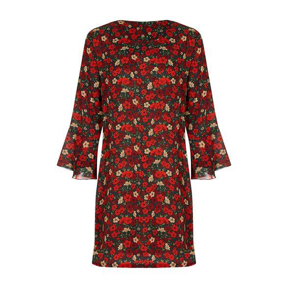 sleeve floral Red tunic flute Yumi retro dress 'Beatha' vqXwnfOxf
